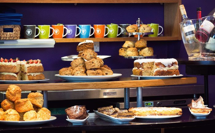 Selection of scrumptious cakes and bakes