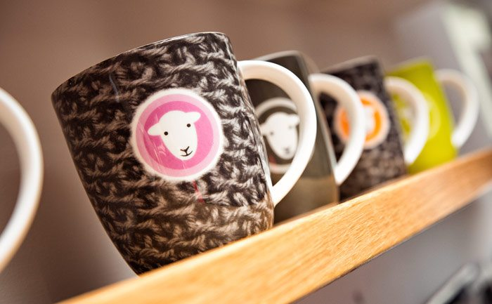 Hand-made and hand-decorated 'Herdy' mugs, designed here in the Lake District